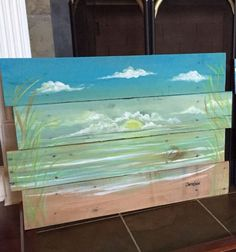 Ocean ,beach scape pallet art, nautical  reclaimed wood summer vacation beach house painting ,seascape ,island tropical sunset sunrise  by SoulSisterPalletShop on Etsy https://www.etsy.com/listing/205426087/ocean-beach-scape-pallet-art-nautical