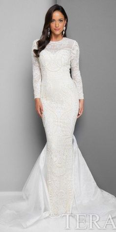 Long Sleeve Fitted Lace Evening Gown by Terani Couture