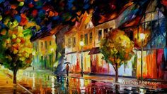 Leonid Afremov Alone In The City oil painting reproductions for sale