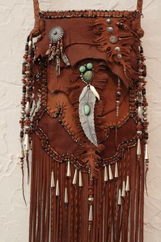 ☯☮ॐ American Hippie Bohemian Style ~ Boho Leather Fringe Bag with silver turquoise and feathers!