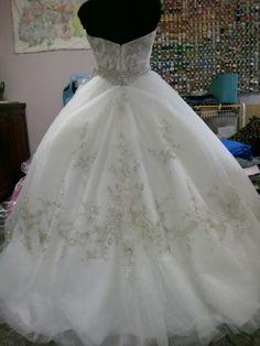 Casablanca 2077 princess ballgown with hoop skirt bustled