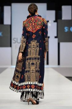Wonderfully embroidered and embellished coat from Akif Mahmood's 2012 collection.