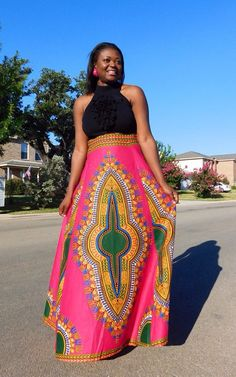 NEW LIMITED Pink African Dashiki Maxi Skirt  by MsAlabaAfricanShop