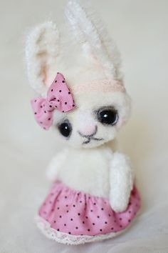 OOAK ARTIST White Bunny Rabbit 5 INCH by Natalia Koroleva