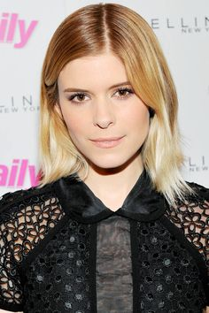 I really like Kate Mara's ombred blonde, off center part & that her cut isn't blunt