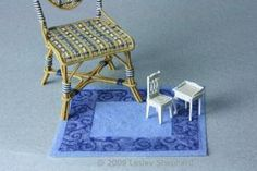 How Scale is Measured for Miniatures and Models With Scale Types List: A finished dollhouse rug made from organdy ribbon, double sided mounting tape and flocking shows how it looks in scale for both 1:12 and 1:48 scale furniture.