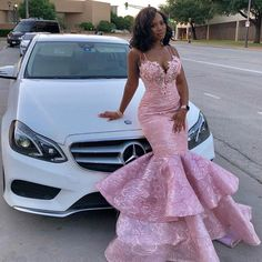 Pink lace prom dresses sweetheart neckline lace ruffle mermaid evening dresses fashion evening gowns - Wedding World Black Girl Prom Dresses, African Prom Dresses, Prom Dresses Two Piece, Cute Prom Dresses, Prom Outfits, Party Dresses, African Formal Dress, Dresses Dresses, Occasion Dresses