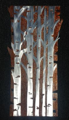 Hello, and thanks for your interest in my aspen tree metal artwork. The dimensions for the listed idem is 36 tall by 20 wide. This metal artwork is made by hand with a polished aluminum front and patina steel back to make this one of a kind double layered piece Price 284.99  Bear Mountain Metal Art is based out of Fort Collins Colorado and operated by artist Bobby Singleton. Artwork is made by drawing the design out on a sheet of cold rolled steel and using a hand held plasma cutter to cut…