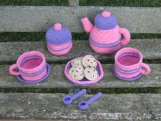 Crocheted Tea Set with Cookies by TiffsCrochetCloset on Etsy, $25.00
