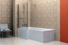 Spectacular White Porcelain Rectangular Standart Tub With Cool Shower Tub Combo And Screen Glass Shower Divider Also Chrome Free Standing Head Shower And Brown Wall Tile Decor In Modern Bathroom Decorating Designs