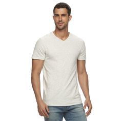 Men's Marc Anthony Slim-Fit Striped Heathered Tee, Size:
