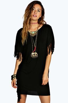 Caitlin Fringed V Plunge Back Oversized Tunic alternative image