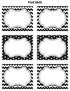FREE Printable food labels Black & white Chevron and polka dots