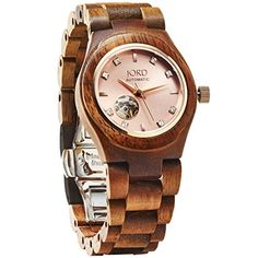 JORD Wooden Watches for Women - Cora Series Skeleton Automatic / Wood Watch Band / Wood Bezel / Self Winding Movement - Includes Wood Watch Box