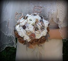 Ivory rose Steampunk brides bouquet vintage by Toptabledesigns, £20.00