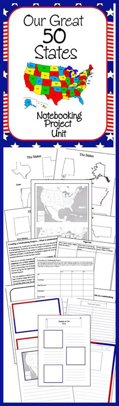 Our Great 50 States Notebooking Project Unit:  Ready to study all 50 states? This unit is perfect! Use to complete a full 50 state notebooking project! Download Club members can download @ http://www.christianhomeschoolhub.com/pt/US-Geography-Teaching-Resources--Downloads/wiki.htm