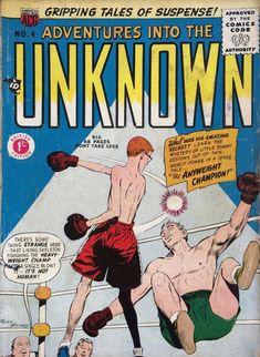 Adventures Into The Unknown ACG -boxing cover VG- in Comic Books > Silver Age Comic Book Plus, Dc Comic Books, Comic Book Covers, Horror Comics, Dc Comics, Tales Of Suspense, Fantasy Comics, Classic Comics, Silver Age