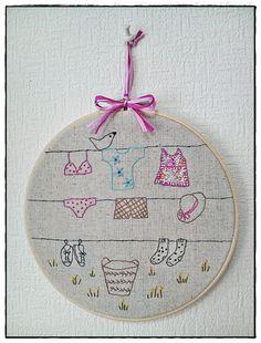 Hand embroidery in hoop Laundry Embroidery by KawaiiSakuraHandmade, ¥5000