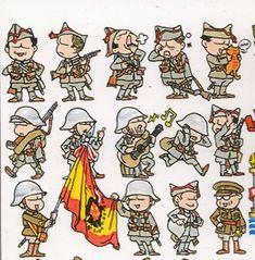 !Se ampla el numero de colaboradores!. ZHANG XING y su amable Sra. Amanda, colaboran a partir de ahora desde China, con sus graciosos di... Military Art, Military Uniforms, Military Drawings, Modern Artists, Cartoon Styles, World War Ii, Pixel Art, Wwii, Comics