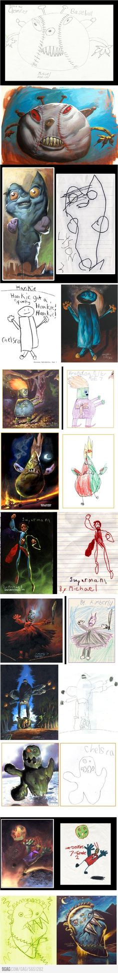 Children's art drawn realistically - could be fun if  high school students re-interpret their own childhood drawings, or those of younger children (k, grade 1) in their school.