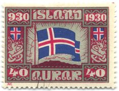 A 1,000 years of Iceland!   Classy & strikingly simple stamp.  The aurar (golden / ore) was a sub-division of the Icelandic krona but is no longer used.  Shame as I rather like the name - you trying saying 40 aurar!  AM