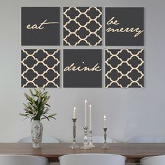 "Eat Drink Be merry on canvas gallery wraps Set of 6 dining room ideas 1.5"" thick frame art print"
