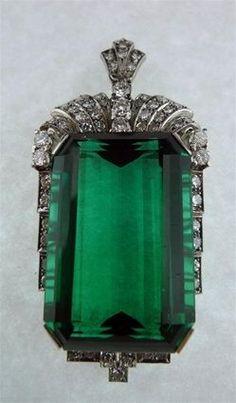 Art Deco Chrome Green Tourmaline Pendant with Diamonds Circa 1935)