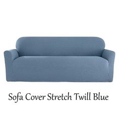 NIP Sure Fit 1 Pc Sofa Cover Stretch Twill Blue Fits Variety Sofa Styles #SureFit #Traditional