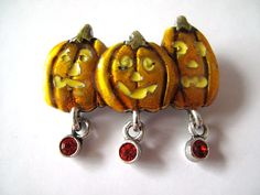 Vintage Pumpkin Brooch by mimiyaya on Etsy, $12.00