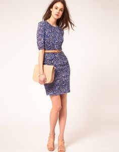 Whistles Bella Bodycon Dress In Multipetal Print in Blue (multi) $234 sold out