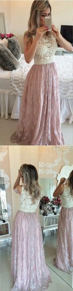 2017 Prom Dresses,Pink Prom Gowns,Lace Evening Dresses,Beading Prom Dresses ,Long Evening Gown,Beautiful Party Dress,Pink Formal Dress,Prom Dress
