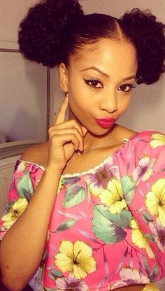 Natural.Curly.Beautiful - afro puffs http://www.shorthaircutsforblackwomen.com/natural_hair-products/