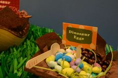 Dino candy eggs at a dinosaur birthday party! See more party ideas at CatchMyParty.com!