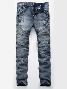 d9b8b4de2db9 HZIJUE new Fashion Ripped Straight Jeans Men Slim Printed Jeans Men's Tide  Brand Hole Denim Fabric Hip Hop Pants Casual 4 colors