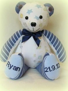 Have a stuffed teddy bear made out of a baby's pajamas once they've outgrown them. :) Memory Bear from www.salthomeandgifts.co.uk