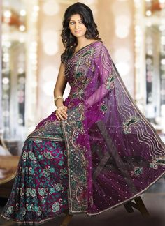 Lavish Embroidered Allure Net Saree