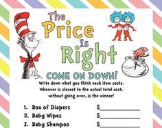 Perfect party game for baby showers or bridal showers! Great for Dr. Seuss themed parties.