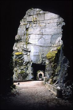 hiking the old Othello railway tunnels through the Coquihalla River canyon near Hope, B.C.