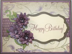 Birthday card using CTMH Papers, and Cricut Art Philosophy 3-D Flowers.