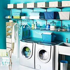 lavadero perfecto en azul #Home #Organization #Laundry