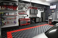 gray man cave garage idea