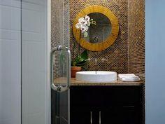 Glass Mosaic Tile Bathroom Ideas With Mosaic Tile For Bathroom Backsplash Tile Ideas Asian Bathroom, Small Bathroom Tiles, Dark Bathrooms, Diy Bathroom Vanity, Bathroom Colors, Bathroom Ideas, Mosaic Bathroom, Bathroom Inspiration, Balinese Bathroom