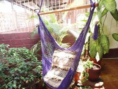 Purple Sitting Hammock, Hanging Chair Natural Cotton and Wood. $39.00, via Etsy.