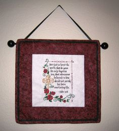 Embroidered John 3:16 Bible Verse Wall Hanging with Roses and Cross.