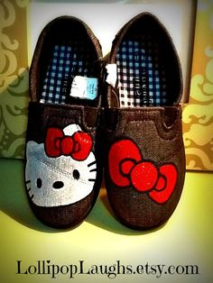 Hello Kitty Hand Painted Canvas Shoes Toddler by LollipopLaughs, $15.00