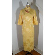 80er Jahre Vintage gelb Seide Brokat 3/4 Bell von JaggersXWife