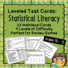 Perfect for test or exam review, this set includes 12 applied statistical literacy task cards and 4 blank cards. A recording sheet and answer guide are also included. Each card is individually coded, making it easy to quickly gauge topic and level, particularly if you are combining these with other ... Exam Review, Review Games, Secondary Math, Recording Sheets, Student Work, Blank Cards, Math Activities, Literacy, Teaching