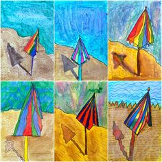 Exploring Art: Elementary Art David Hockney Landscapes, David Hockney Art, 6th Grade Art, Summer Art, Painting Lessons, Preschool Art, Art Lesson Plans, Teaching Art, Beach Umbrella