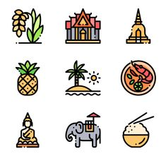 50 free vector icons of Thailand designed by Freepik Mini Drawings, Easy Drawings, Icon Design, Design Web, Design Layouts, Flat Design, City Icon, Insta Icon, Dibujos Cute