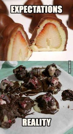 This is actually so true XD Chocolate Covered Strawberry Cake Bites Pin Fails, Funny Fails, Special Recipes, Baking Fails, Fail Nails, Food Fails, Expectation Vs Reality, Pinterest Fails, Pinterest Recipes
